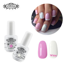 Perfect Summer Nail Gel French Manicure Pink White Color UV Gel Polish DIY Nail Art Long Lasting UV LED Lamp Gel Polish