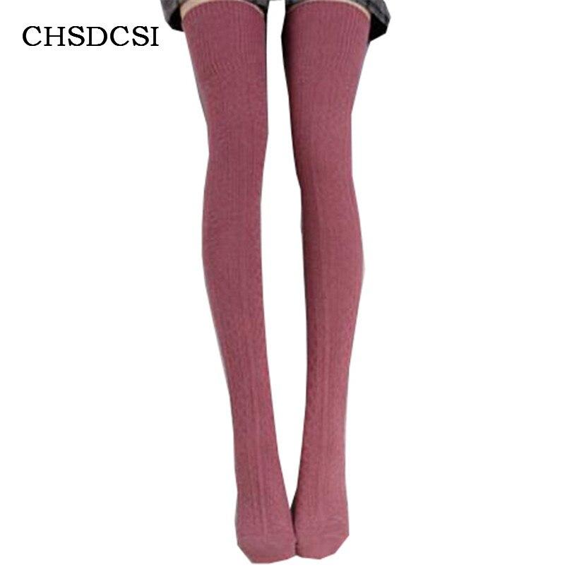 Women Knit Crochet Stockings Winter Over The Knee Long Socks Leg Warmer Braid Cotton Soft Calcetines Mujer Chaussette Twist W041
