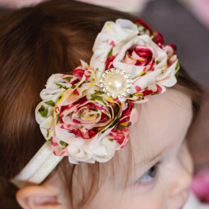 Kids Children Fashion Hot  Baby Pearl 2 Flowers Fringed Headband Girls Headwear Hair Band Head Accessories 1 PZ W--106 bebe girls flower headband four felt rose flowers head band elastic hairbands rainbow headwear hair accessories