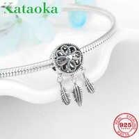 Bonito dreamland moda 925 prata esterlina sonho apanhador encantos pingentes caber original pandora pulseira pulseiras jóias