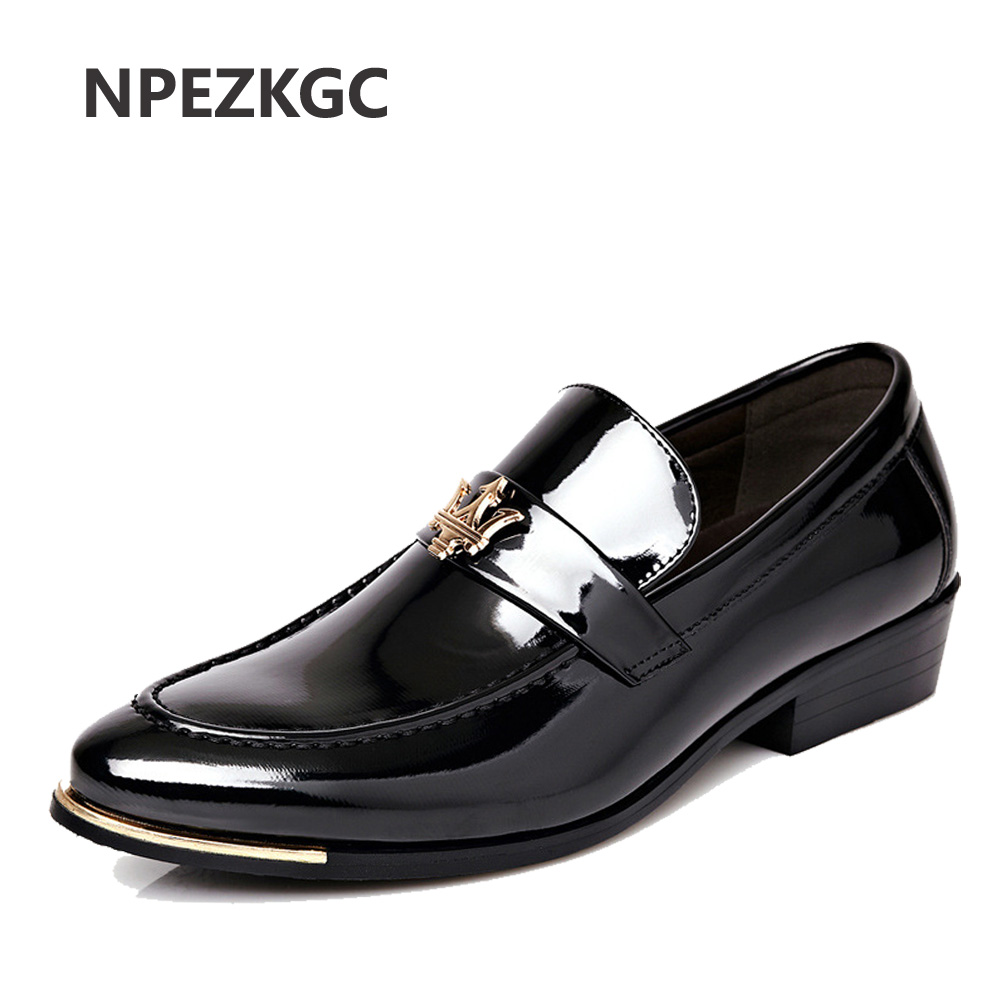 NPEZKGC High Quality PU Leather Men Shoes Brogues, slip on Bullock Business Men Oxfords Shoes Men Dress Shoes