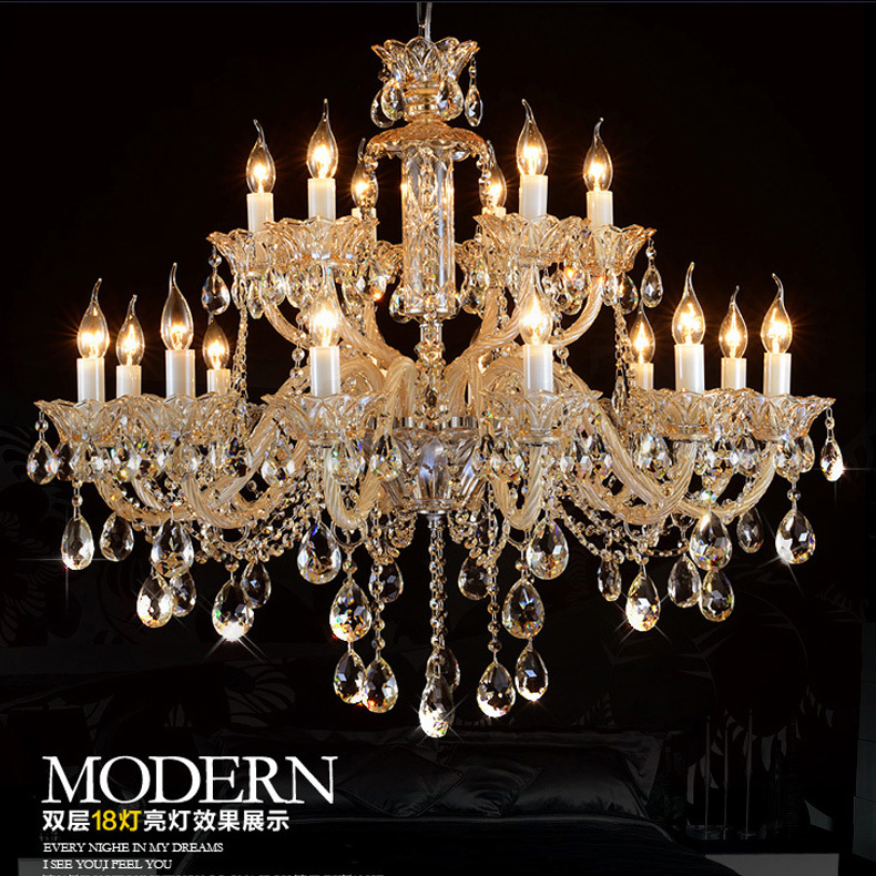 Penthouse large crystal chandelier 18 arms Antique candle chandeliers vintage big home lights & lighting chandeliers
