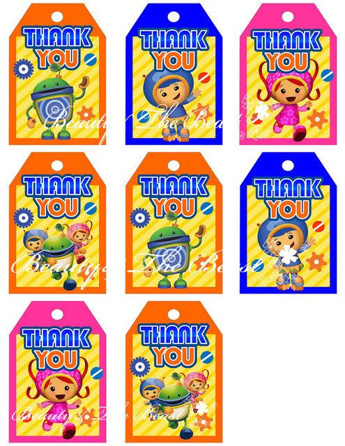 Team Umizoomi Favor tags, Team Umizoomi Thank you Tags ...