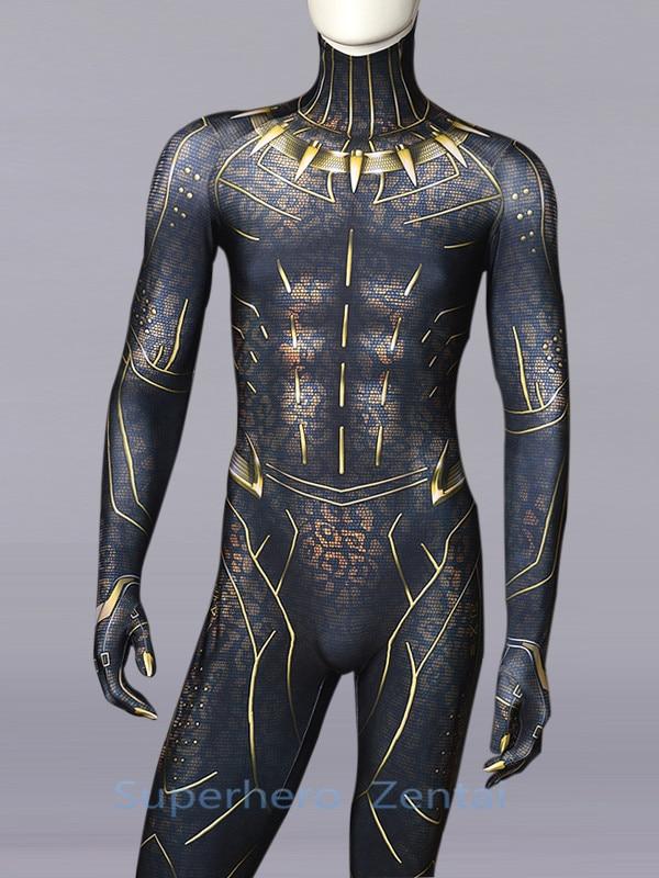 Black Panther Costume 2018 New Film Version Superhero Costume 3D Printing Spandex Captain American Cosplay Zentai