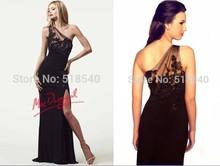 free shipping party gown vestido de festa longo robe soiree 2014 new hot sexy one shoulder black long Formal Evening dress