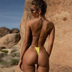 Неоновый зеленый бикини купальник со стрингами с высоким вырезом прозрачные купальники женский купальник сексуальный пуш-ап купальник жен... 4