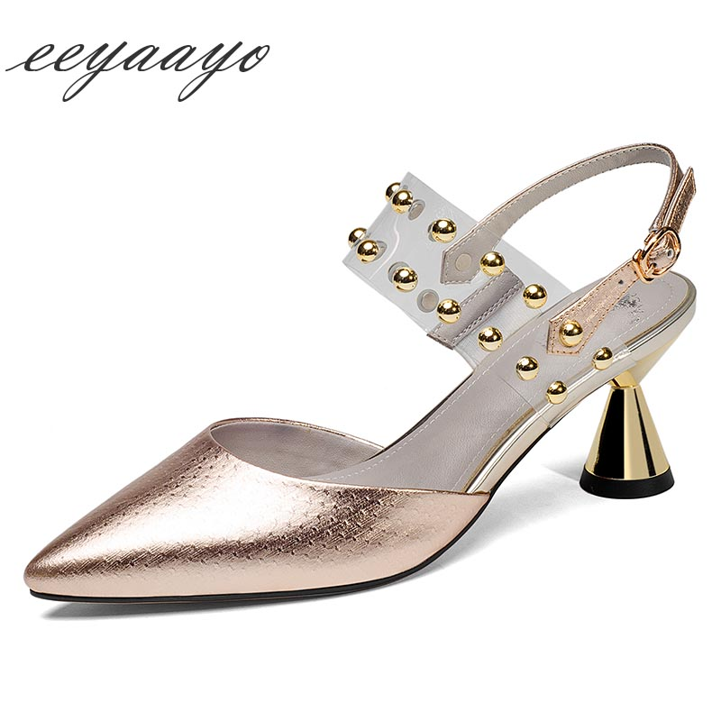 2019 nouveau été en cuir véritable femmes sandales à talons hauts bout pointu Rivet Sexy dames femmes en cuir de vache chaussures or talons hauts