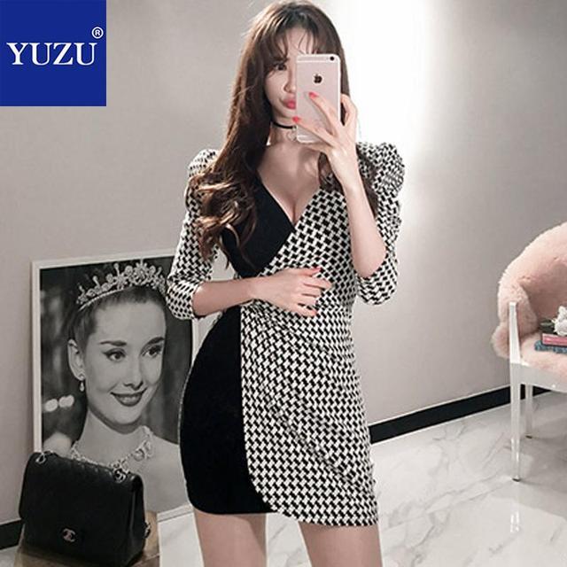 12da5f6741 Checkerboard Graphics Dress Fall Korean Fashion Black And White V Neck  Three Quarter Sleeve Sexy Mini Bodycon Pencil Dresses