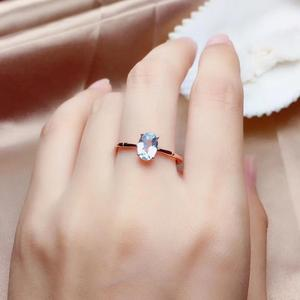 Image 4 - Natural aquamarine ring, 925 silver, simple style, 1 carat gems, clean quality, cheap price