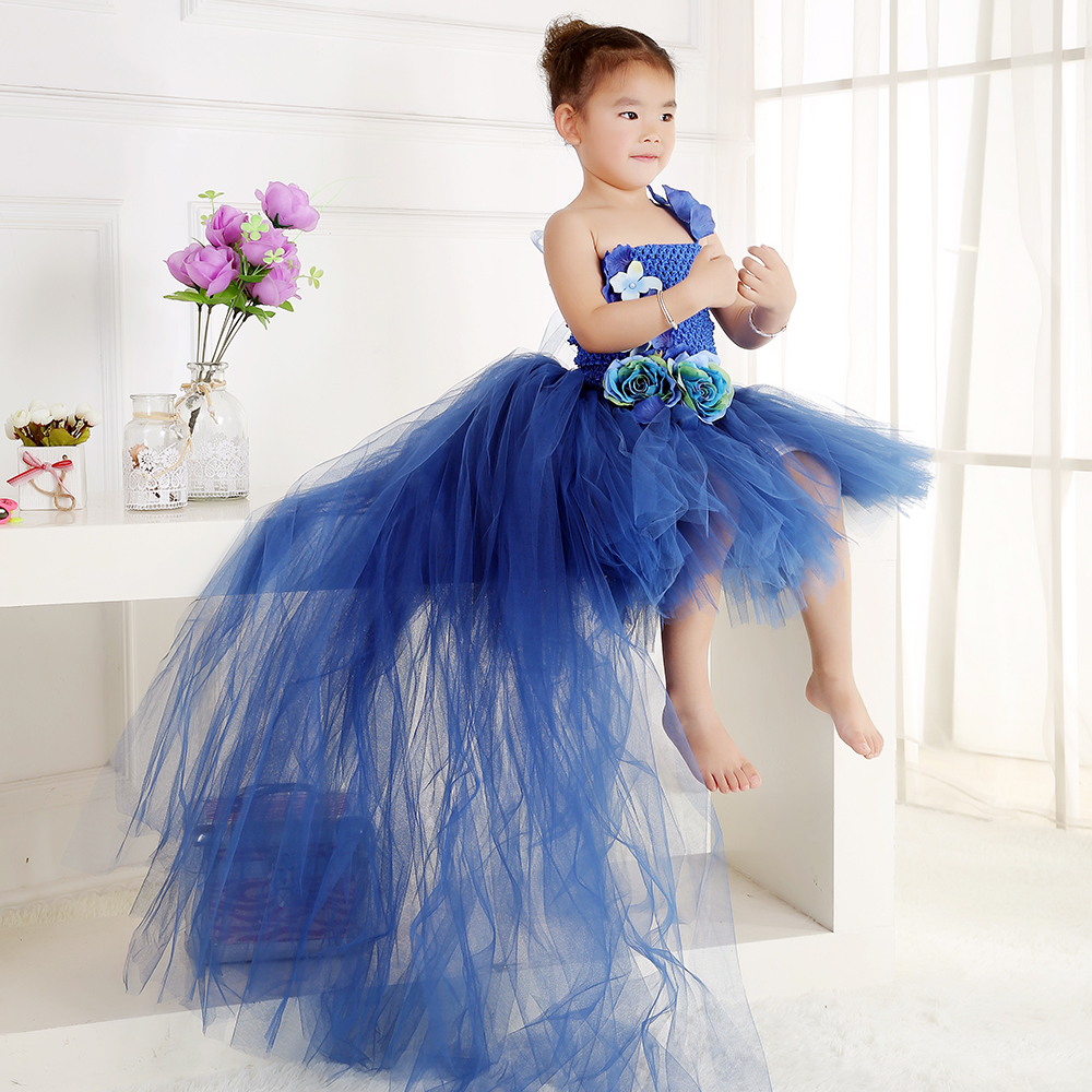2018 Fashion Blue Flower Girl Dresses Sweep Brush Train Tulle Ball