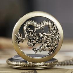 Дракон карманные часы брелок с цепью кварцевые цепочки и ожерелья часы Мультфильм комиксов мужской открытым уход за кожей лица Часы