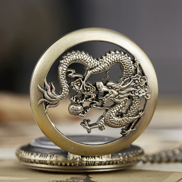 Dragon Pocket Watch Fob Chain Quartz Necklace Watches Cartoon Comics Male Open-f