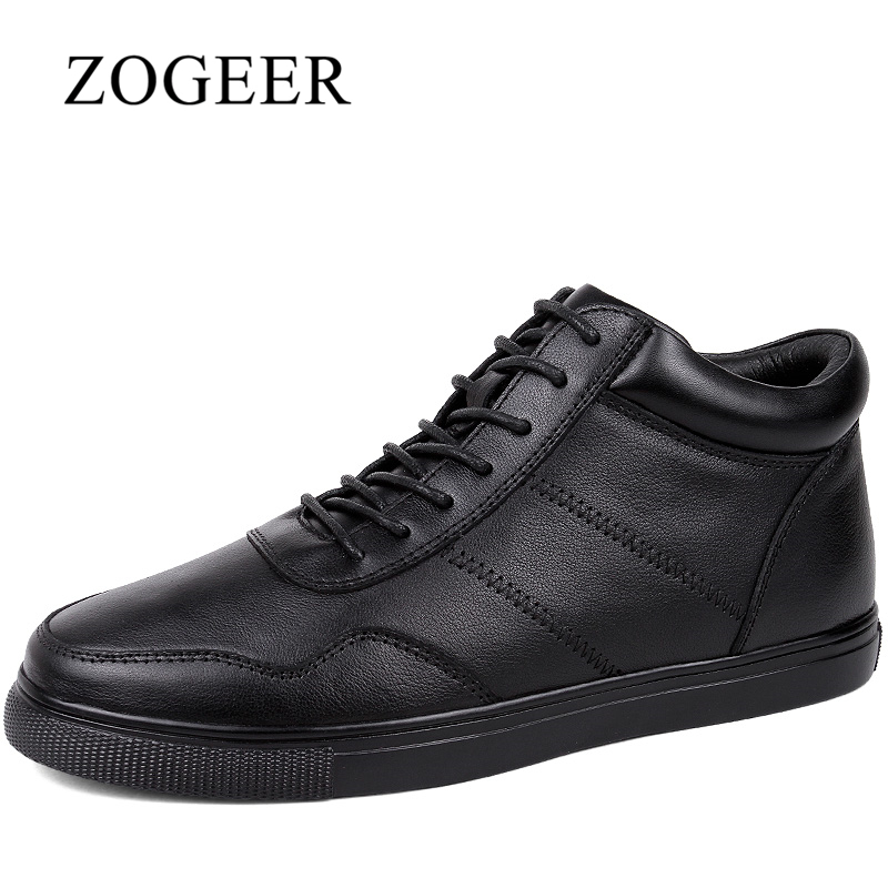 ZOGEER Big Size 38-48 Men Boots, Black Business Men Leather Boots, High Quality Lace Up Winter Mens Ankle Booties цены онлайн