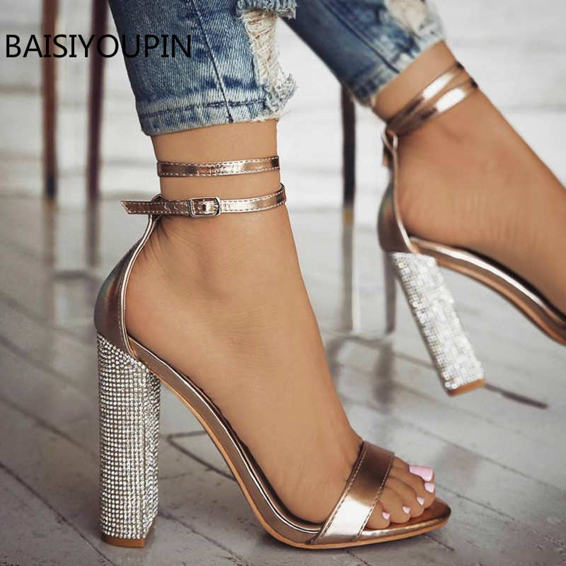 43-34 Casual +8CM High Heels Female Sandals Shoes Sexy Fashion Buckle Strap Thick heel Pumps Party Solid Women Shoes Plus size