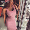 Sexy Sleeveless Knitted Tank Dress Women Knee Length Bodycon Dresses Summer 2019 Slim Scoop Neck Ribbed