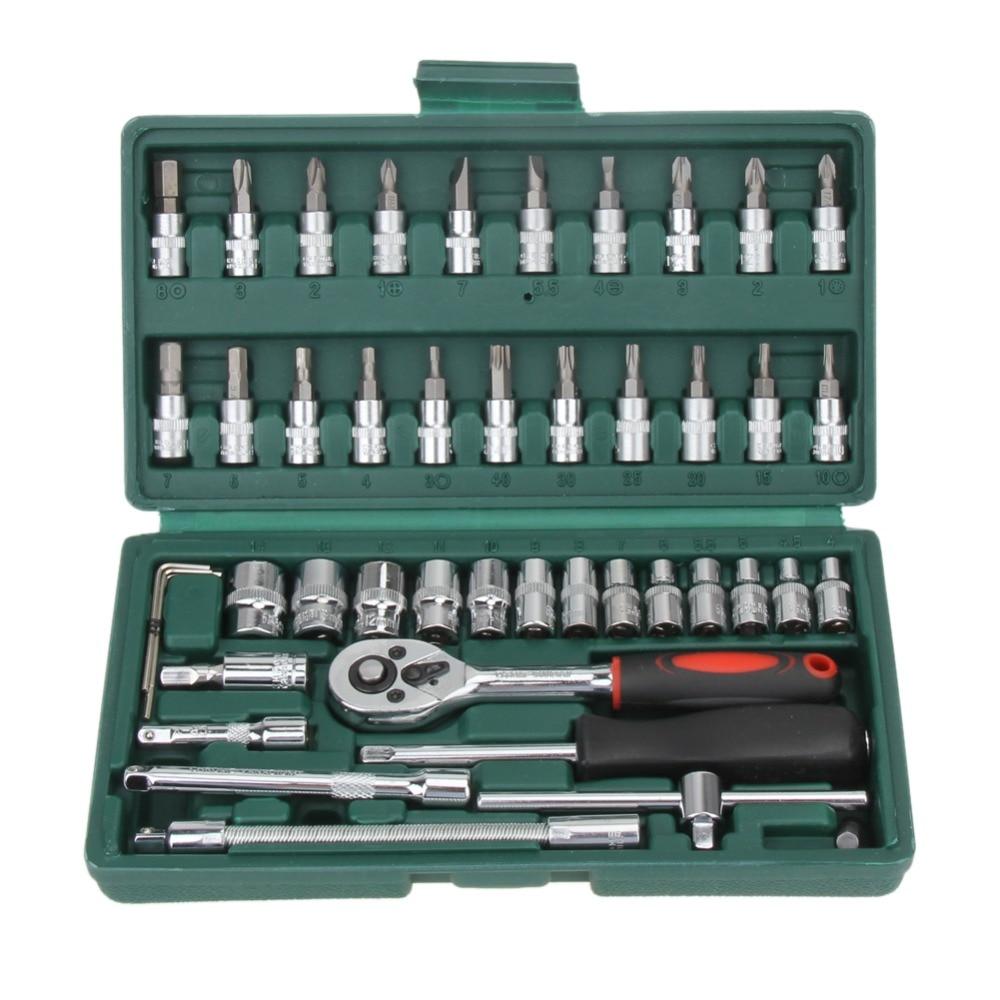 все цены на 46pc Spanner Socket Set 1/4 Car Repair Tool Ratchet Wrench Screw Set Mechanical Combination Repair Bit Repair Tool Kit 2 Style онлайн