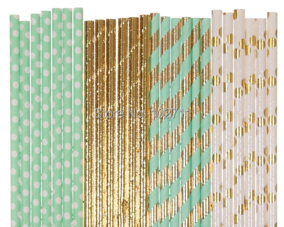 200 Paper Straw Mix 4color Mint Green Gold Foil Polka Dot