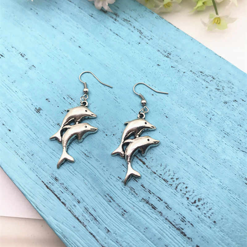 Hot Dolphin Ibu & Bayi Menjuntai Anting-Anting Paduan Seng Perak Dolphin DIY Fashion Wanita Wanita Perhiasan Hari Valentine sekarang