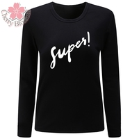 Cherry Blossom Women T Shirt O Neck Long Sleeve T Shirt Supes Letter Print Tshirt Casual