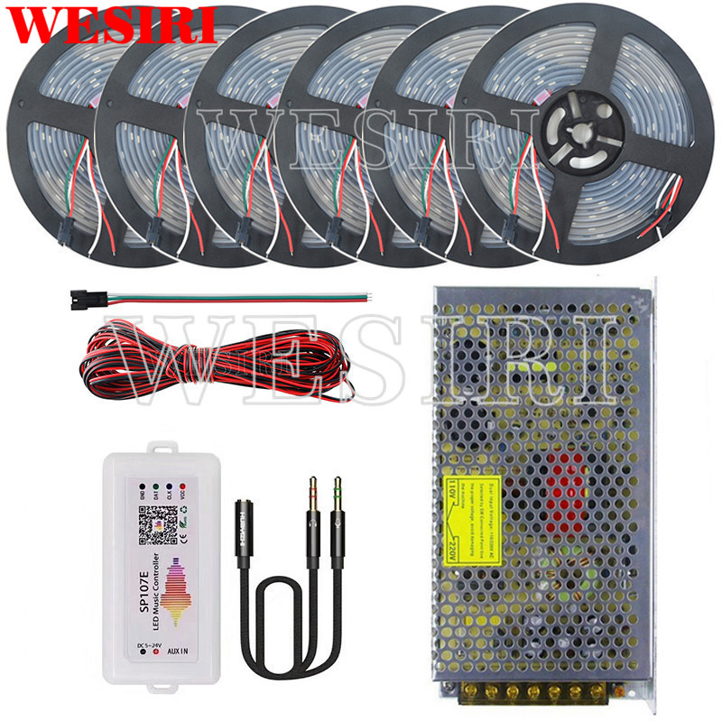 DC5V 5m 10m 15m 20m25m 30m 150leds WS2812B Addressable LED Pixel Strip SP107E APP Music Controller