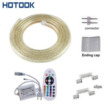 220V LED Strip Light SMD5050 1M 2M 3M 5M 10M RGB Flexible Tiras Outdoor Garden Lighting Waterproof White + Remote Controller
