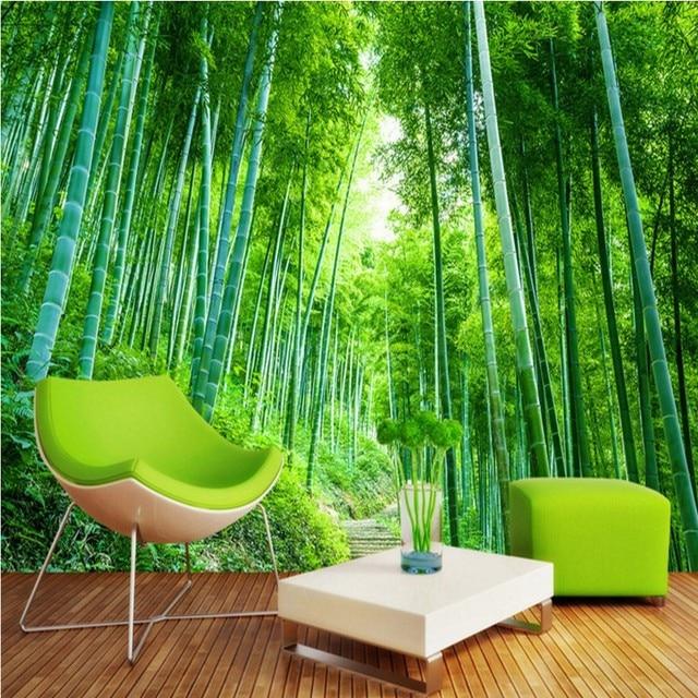 3d Photo Papier Peint Bambou Forêt Jungle Paysage Fond Mur Salle De
