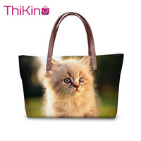 Thikin Women Cat Handbags Lady Shopping Large Shouerbag Wallet Girls Purse Leather Storage Notecase Cute Pet Zipper Mochila