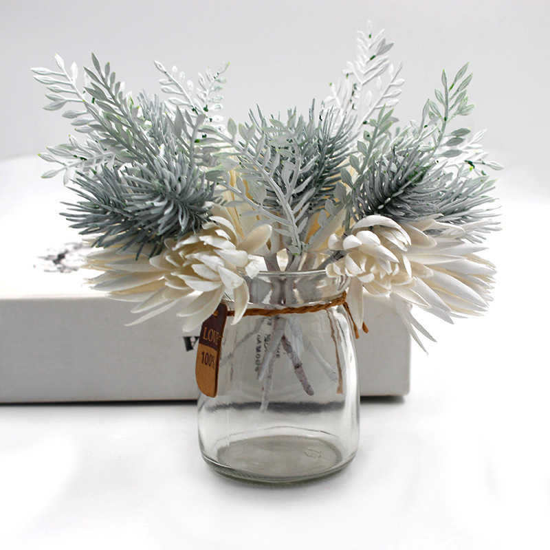 Plastic Fake Flowers Pine Branches Party Decoration Simulation Plant Wedding DIY Pine Grass 1Pcs Artificial Flowers Fake Plant