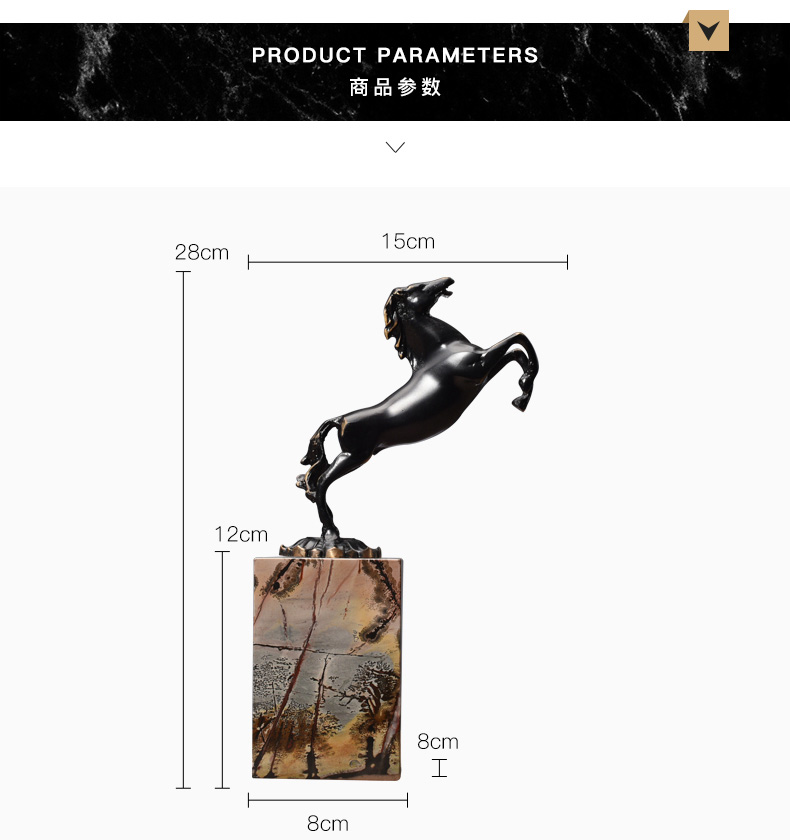Black Running Paard Standbeeld Black Metal Art Craft Marmer Base Postmoderne Wijnkast Ornamenten Decoratie Sculptuur Thuis Gift - 6