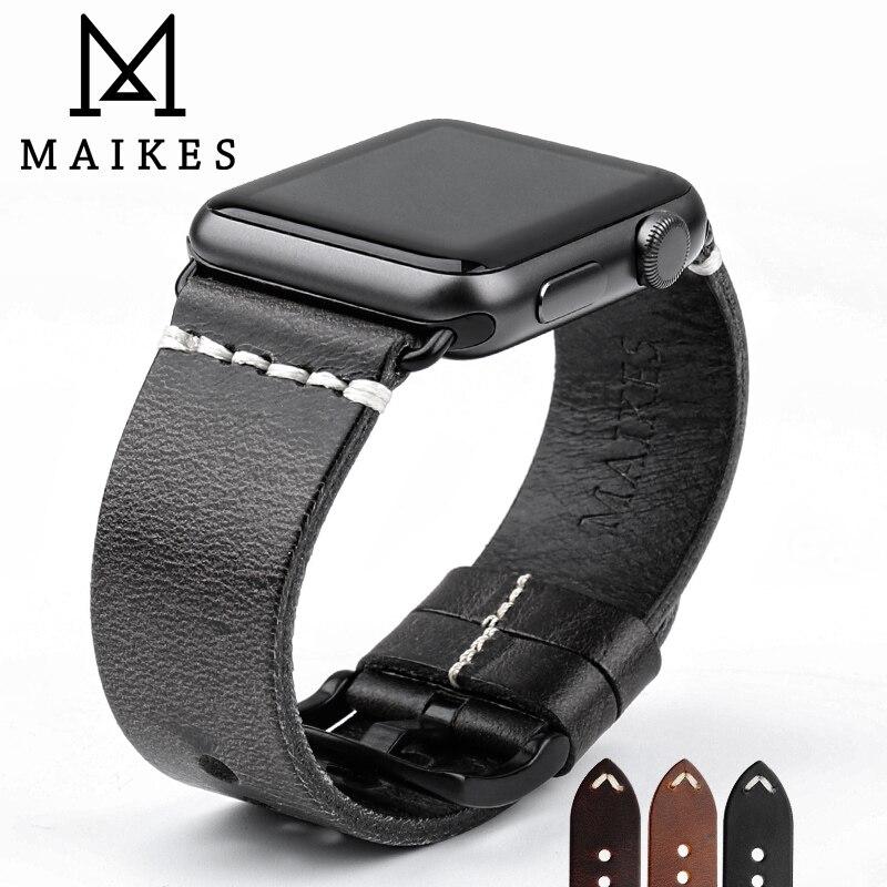 MAIKES Vintage Öl Wachs Leder Strap Für Apple Uhr Band 42mm 38mm/44mm 40mm Serie 4/3/2/1 iWatch Schwarz Armband Armband