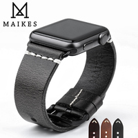MAIKES Vintage Oil Wax Leather Strap For Apple Watch Band 42mm 38mm Series 3 2 1
