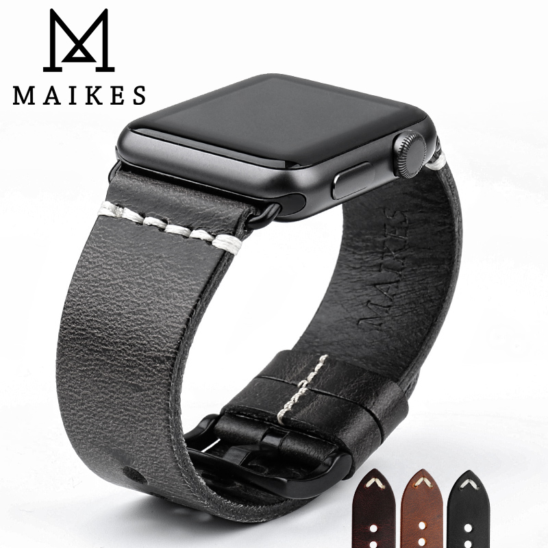 MAIKES Vintage Oil Wax Leather Strap For Apple Watch Band 42mm 38mm Series 3/2/1 iWatch Black Bracelet Watchband