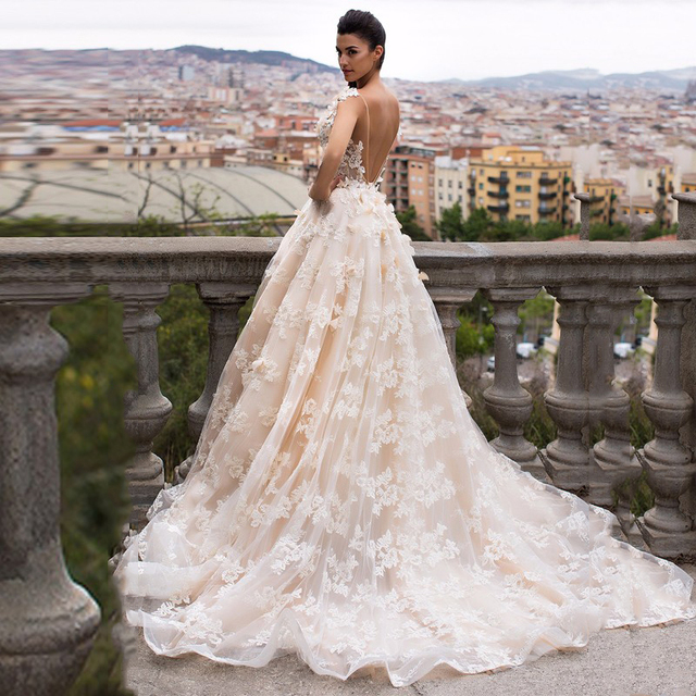 2017 garden beige lace wedding dress middle east dubai saudi arabia