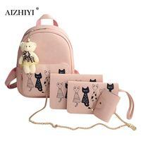 4pcs Cat Printed Girls PU Leather Backpack Shoulder Bag Clutch Purse Bags