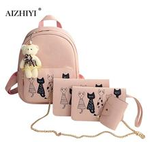 4Pcs Lovely Cat Printed Backpack Women PU Leather Backpack Shoulder Bag Ladies Simple Clutch Purse Bag Leisure Travel Rucksack