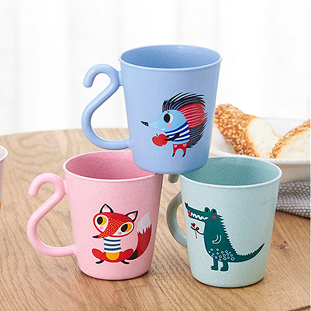 Baby Milk Cup With Handle Children Cute Jelly Candy Color Cartoon Tea Kids Learning