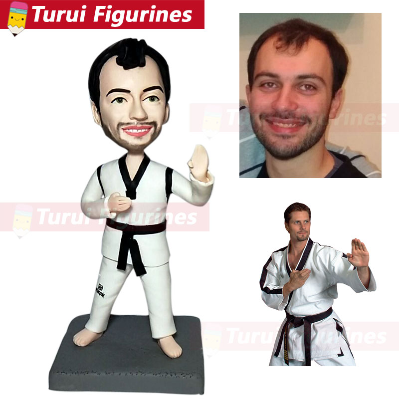 Karate Tae Kwon figurine custom bobblehead figurines personalized bobble head polymer clay ceramic figurine doll gift