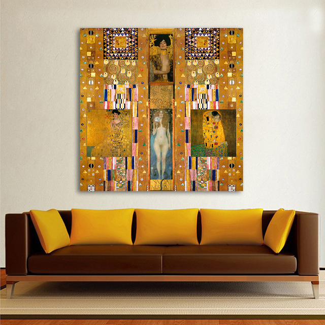 Hdartisan Moderne Peinture À L'Huile Rassemble Gustav Klimt Toile