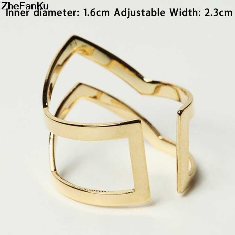 2019 אופנה חדשה זהב כסף מצופה כפול V-בצורת חצי נפתח מתכוונן בציר אישה טבעות תכשיטי זרוק חינם