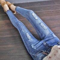 Nieuwe vrouwen stretch slanke elastische hoge taille gebroken gescheurde gescheurde Jeans skinny vrouw broek vrouwen broek femme Goedkope groothandel