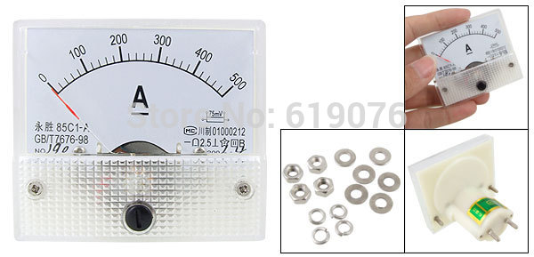 Бесплатная доставка 85C1-A 0-500A DC Аналоговый амперметр измерительный прибор с панелью