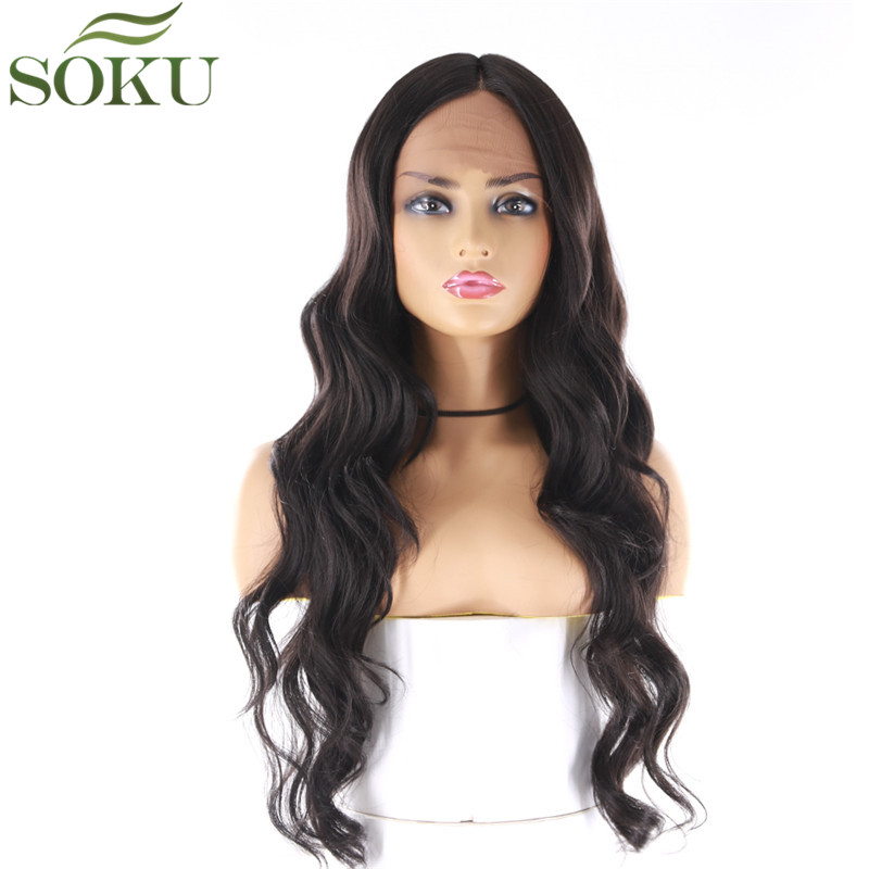 SOKU Synthetic Lace Front Wigs 22 Inch Long Wavy Lace Hair Wig Heat Resistant Lace Front Wig For Black Women Free Shipping