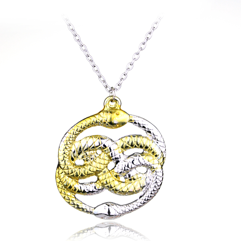 The Neverending Story Movie Necklace H P Double Snakes Gold Silver Loki Film Pendant Necklaces Men Gift