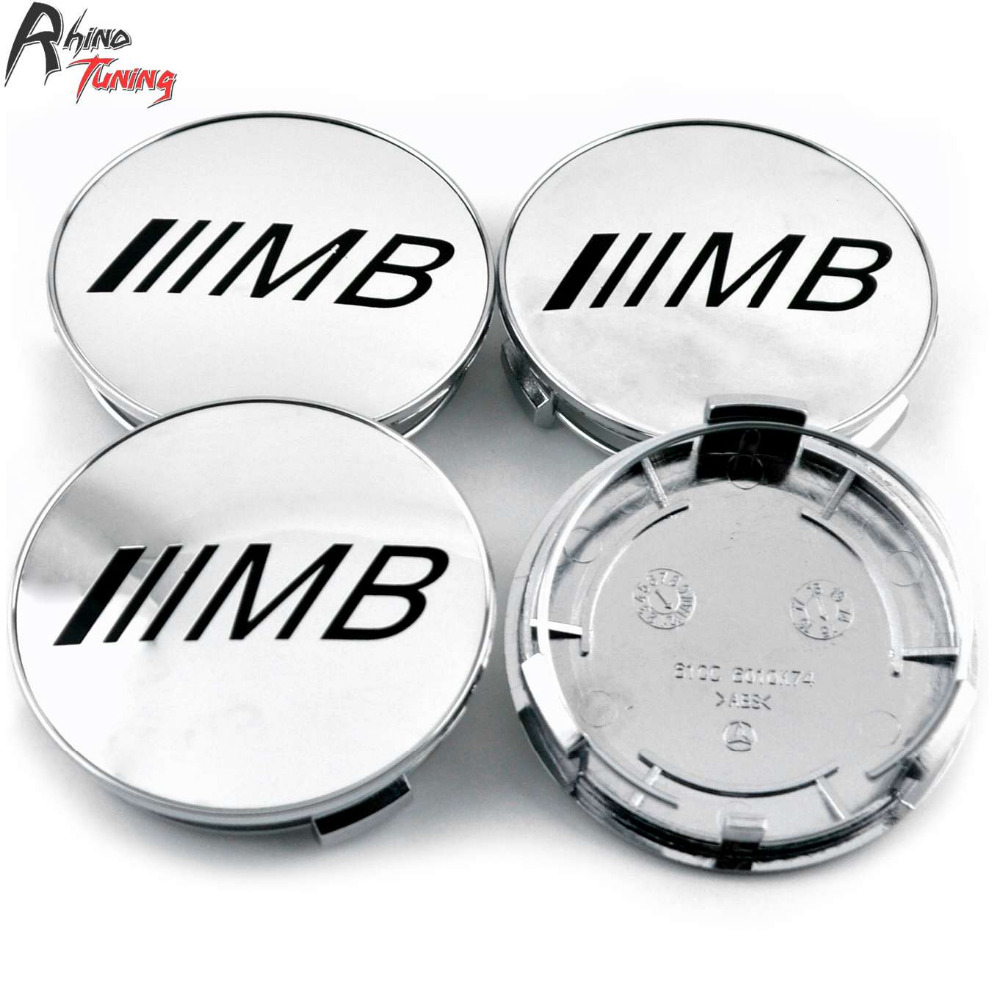 Rhino Tuning 75mm 4PCs /// MB Silver Emblem Car Wheel Center Hub Caps Auto Styling Rim Cap For A B C E S ML Class # 610C 6010
