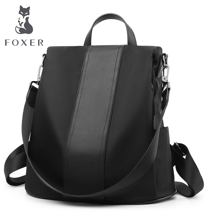 FOXER Brand Women Backpack Oxford + Leather Multifunction Backpacks Girl Fashion Travel Bag Large Capacity Bag for Female