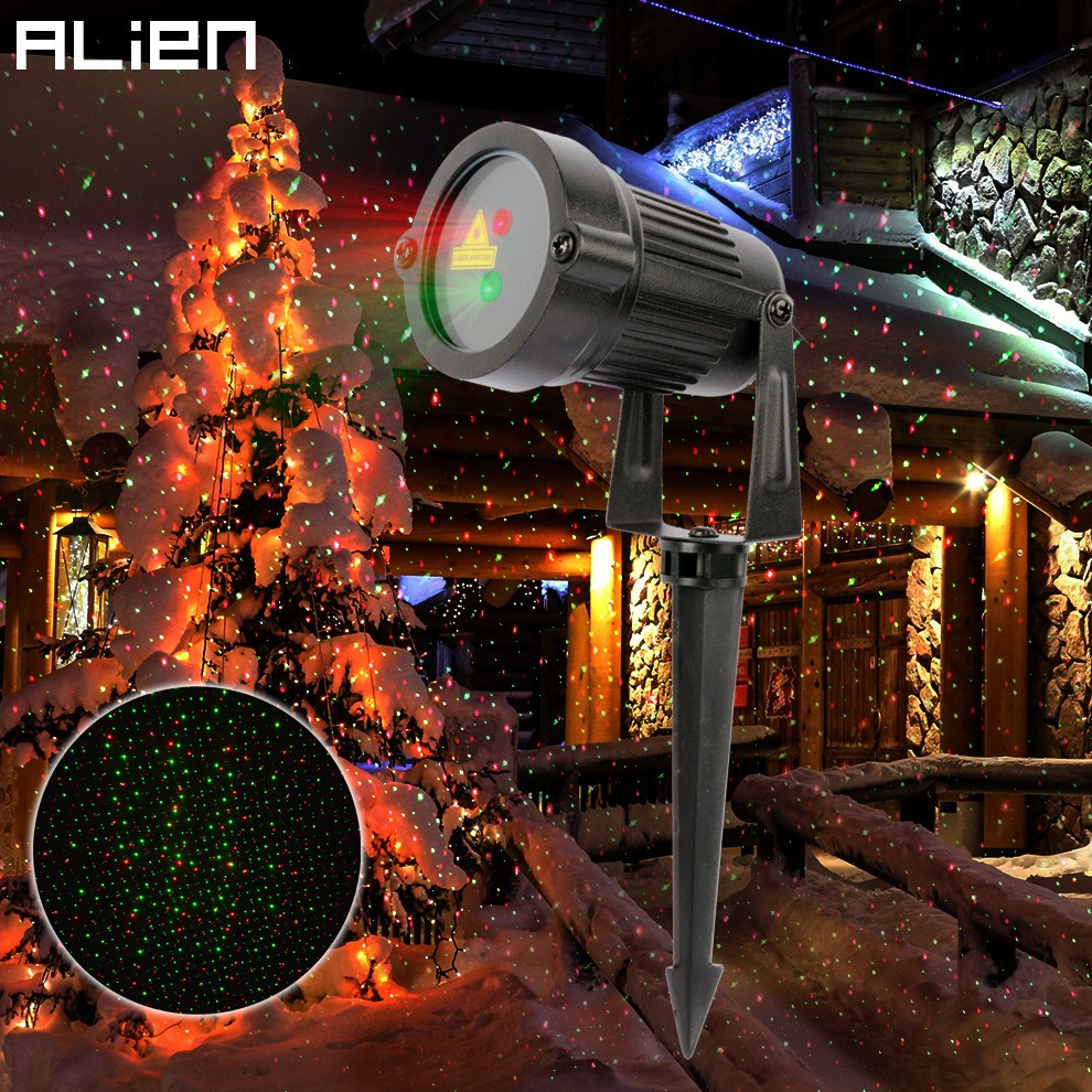 ALIEN Outdoor RG Christmas Static Star Laser Lights Projector Shower Lighting Xmas Holiday Garden Tree Waterproof Light laser shower waterproof outdoor laser light projector christmas holiday twinkling star lights garden decorations for home
