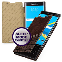 Smart Sleep Wake Folio Flip Cover Case For Blackberry Priv 100 Top Grade Cowhide Genuine Leather