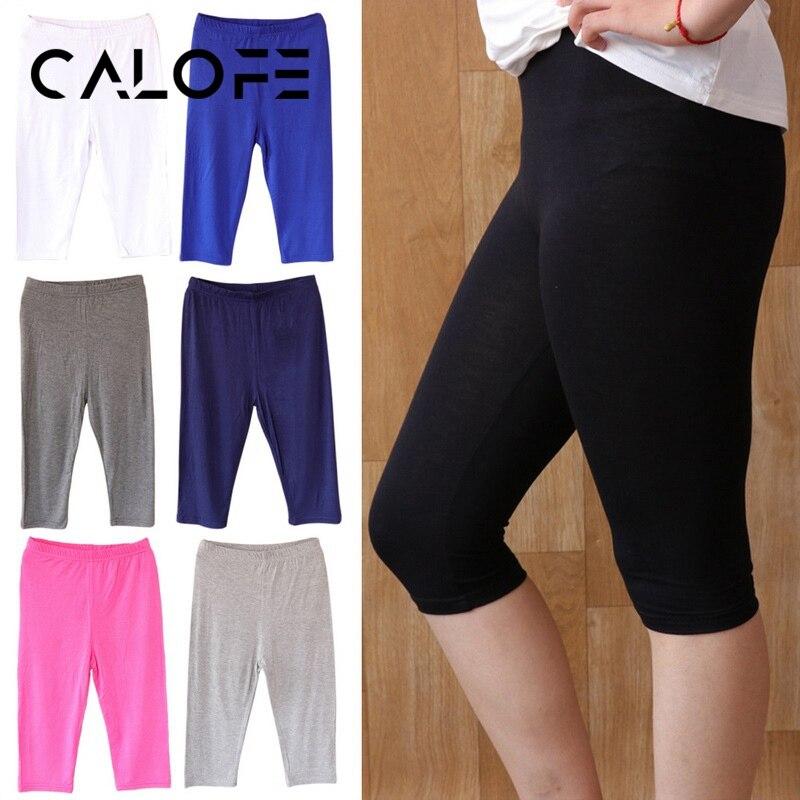 CALOFE 3PCS Women's Thin Black White Sports Trunks Cropped Slim Trousers Leggings Ladies Modal Breathable Legging Short Pants