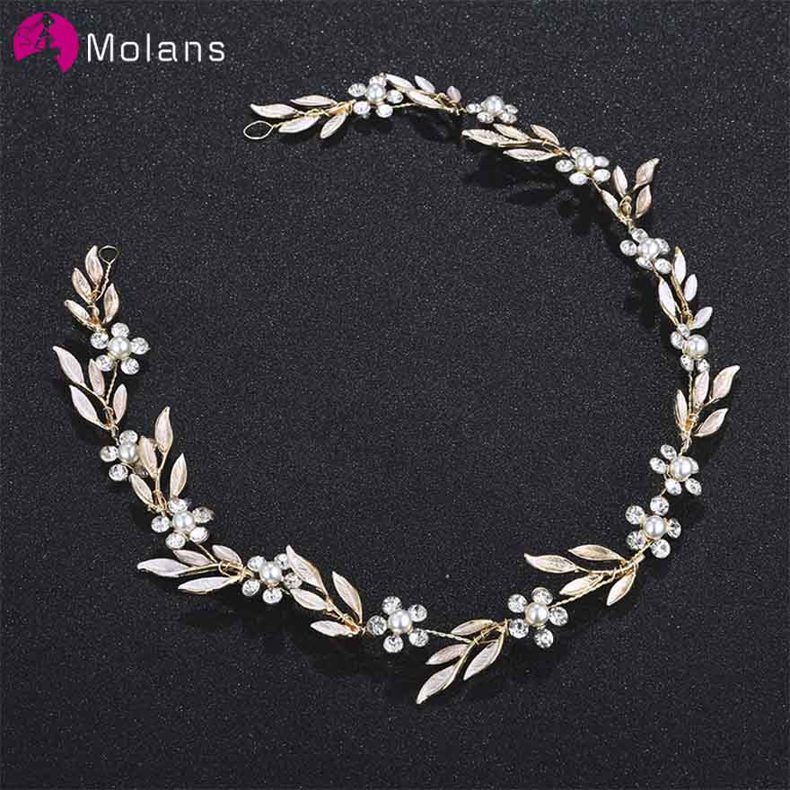 MOLANS Gorgeous Simple Leaf Floral Headbands For Bridal Wedding Accessories Gold/Silver Alloy Leaf Handmade Women Hair Ornaments