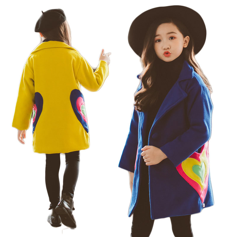 2018 Autumn Winter Children's Clothing Girls Woolen Coats Kids Korean Thick Long Overcoats Baby Single Breasted Outerwears G228